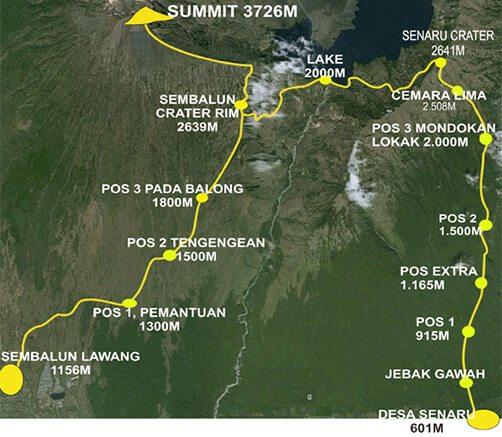 Rinjani Trek Map